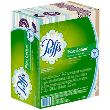 Plus Puffs Plus Lotion Facial Tissues; 2 Family Boxes; 124 Tissues per Box