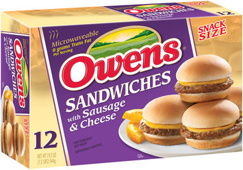 Owens® Snack Size Sandwiches with Sausage & Cheese 12 ct Box