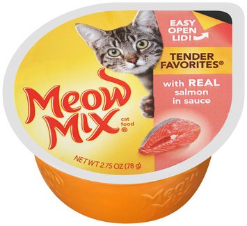 Meow Mix Tender Favorites with Real Salmon in Sauce Wet Cat Food, 2.75-Ounce Cup
