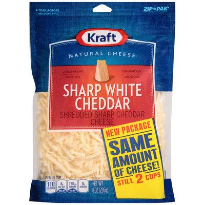 Kraft Shredded Sharp White Cheddar Cheese 8 oz. ZIP-PAK®