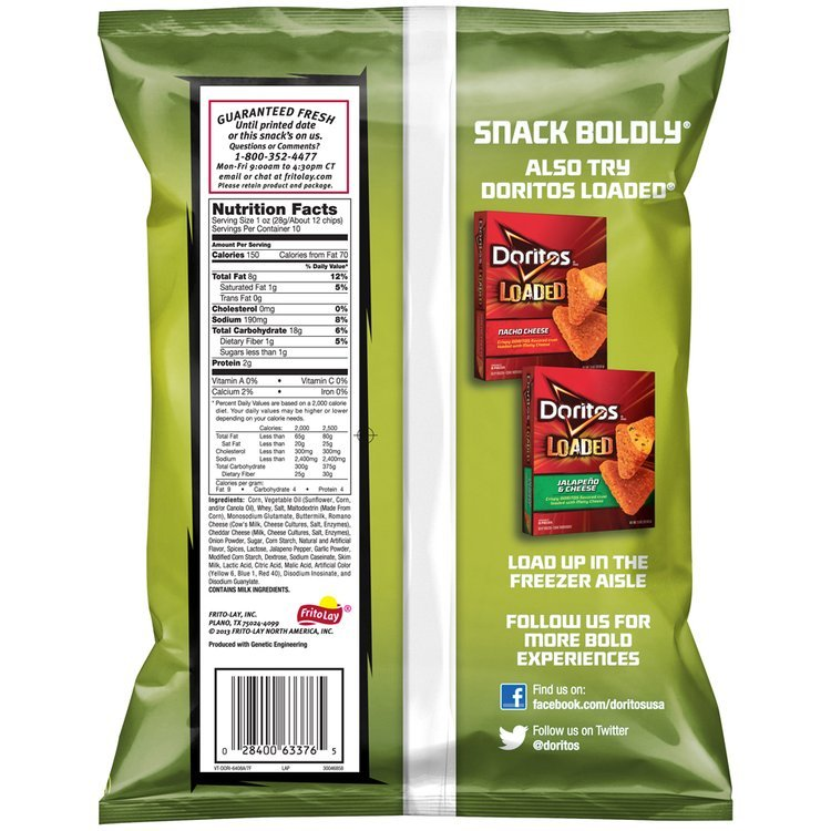 Doritos® Poppin' Jalapeno® Flavored Tortilla Chips 10 oz. Bag