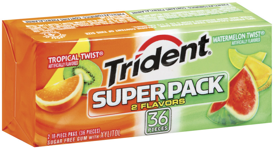 Trident W/Xylitol Tropical Twist & Watermelon Sugar Free Gum Super