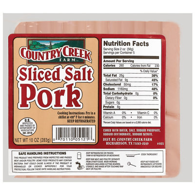 Country Creek Farm Sliced Salt Pork 10 Oz Package
