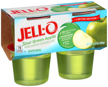 JELL-O Sour Green Apple Gelatin Snacks