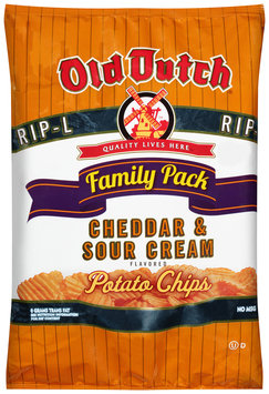 Old Dutch® Cheddar & Sour Cream Flavored RIP-L Potato Chips Family Pack 9.5 oz. Bag