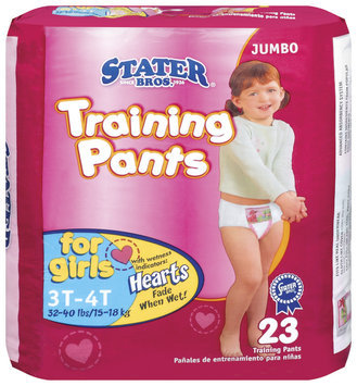 Stater Bros. Girls 3t to 4t 32-40 Lbs Jumbo Pack Training Pants 23 Ct Bag