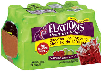 Elations Healthier Joints Glucosamine/Chondroitin Raspberry White Grape 8 Fl Oz Bottles Supplement Drink 12 Ct Tray