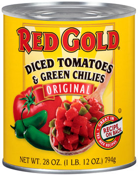 Red Gold® Original Diced Tomatoes & Green Chilies 28 oz. Can