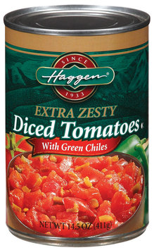 Haggen Diced W/Green Chiles Extra Zesty Tomatoes 14.5 Oz Can