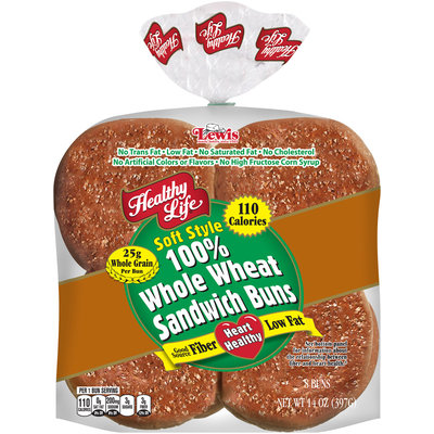 Healthy Life® Soft Style 100% Whole Wheat Sandwich Buns