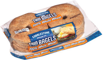 Cobblestone Bread Co.™ 100% Whole Wheat Thin Sliced Bagels 13 oz. Bag