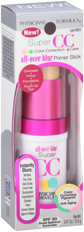 Physicians Formula® Super CC Color-Correction + Care All-Over Blur Primer Stick Light/Medium 6664 0.47 oz. Box