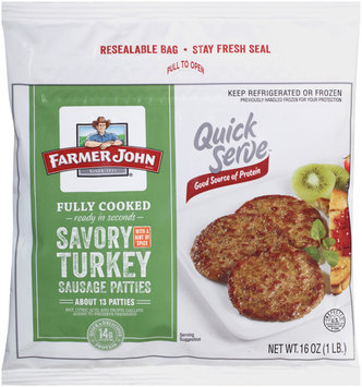 Farmer John® Quick Serve™ Savory Turkey Sausage Patties
