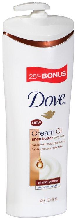 Dove Shea Butter Cream Oil 25% Bonus Body Lotion 16.9 Fl Oz Pump