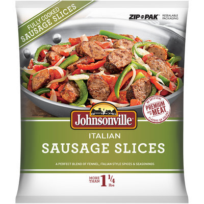 Johnsonville Mild Italian Sausage Slices 22oz zip pouch  (101752)