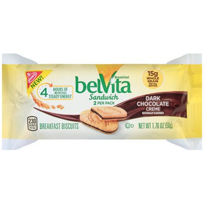 Nabisco belVita Sandwich Dark Chocolate Creme Breakfast Biscuits