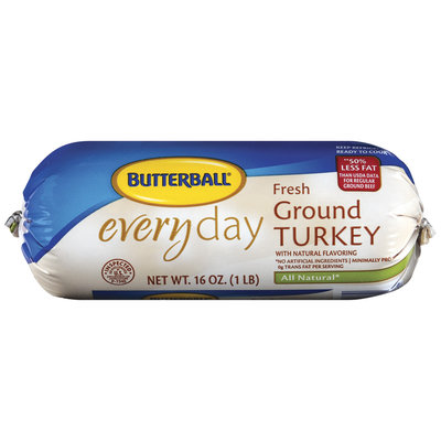 Butterball Everyday Fresh All Natural 50% Less Fat Ground Turkey 16 Oz Wrapper