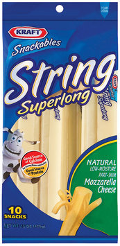 Kraft Snackables Mozzarella Super Long 10 Ct String Cheese 15 Oz Peg