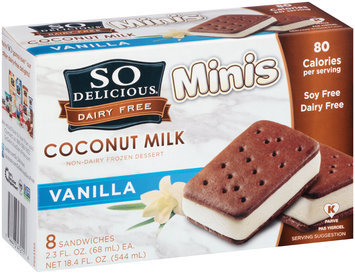 So Delicious® Dairy Free Coconut Milk Minis Vanilla Non-Dairy Frozen Dessert 8-2.3 fl. oz. Sandwiches