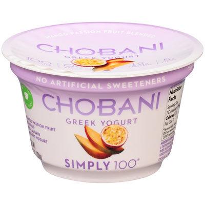 Chobani Simply 100® Mango Passion Fruit Blended Non-Fat Greek Yogurt 5.3 oz. Cup