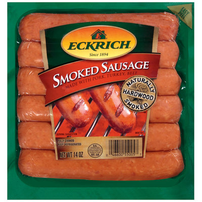 Eckrich Naturally Hardwood Smoked Made W/Pork Turkey & Beef Smoked Sausage 14 Oz Pack
