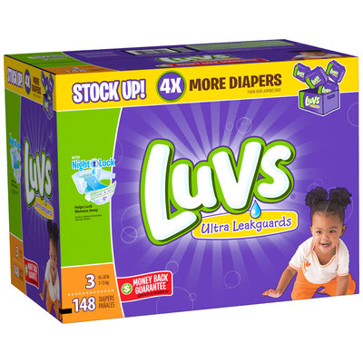 Stretch Luvs with Ultra Leakguards Size 3 Diapers 148 Count