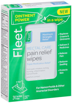 Fleet® Maximum Strength Rectal Care Pain Relief Wipes 24 ct Box