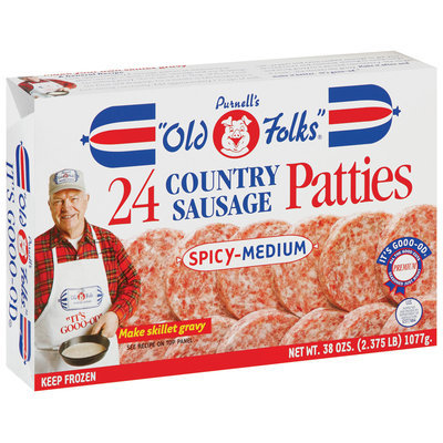 Purnell's Old Folks Spicy-Medium Patties 24 Ct Country Sausage 38 Oz Box