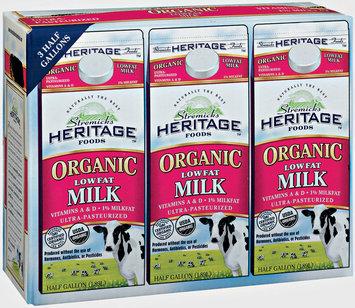 Stremicks Heritage Foods® Organic Lowfat Milk 3-0.5 gal. Cartons