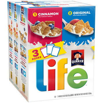 Quaker Life® Cinnamon/Original Multigrain Cereal 3-18 oz. Boxes