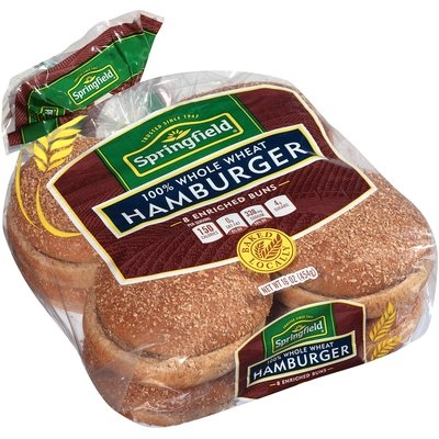 Springfield® Enriched 100% Whole Wheat Hamburger Buns 8 ct Pack
