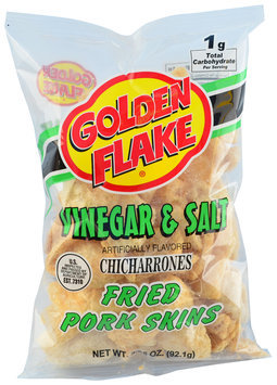 Golden Flake® Vinegar & Salt Chicharrones Fried Pork Skins 3.25 oz. Bag