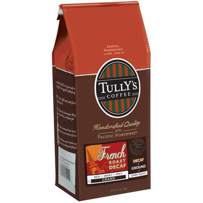 Tully's Coffee Decaf Grand Ground Dark Roast French Roast 12 Oz Stand Up Bag