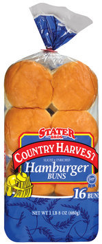 Stater Bros. Country Harvest Hamburger 16 Ct Buns 24 Oz Bag