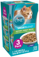 Purina ONE SmartBlend Savory Turkey Recipe in Gravy Premium Cat Food 3-3 oz. Cans