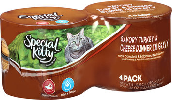 Special Kitty™ Savory Turkey & Cheese Dinner in Gravy Wet Cat Food 4-5.5 oz. Cans