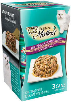 Purina Fancy Feast Elegant Medley's White Meat Chicken Tuscany Cat Food 3-3 oz. Cans