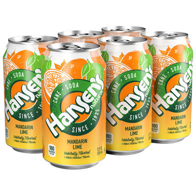 Hansen's® Natural Cane Mandarin Lime Soda 6-12 fl. oz. Cans