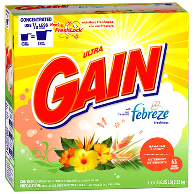 Gain with FreshLock with Febreze Freshness Hawaiian Aloha Powder Detergent 100 oz. Carton
