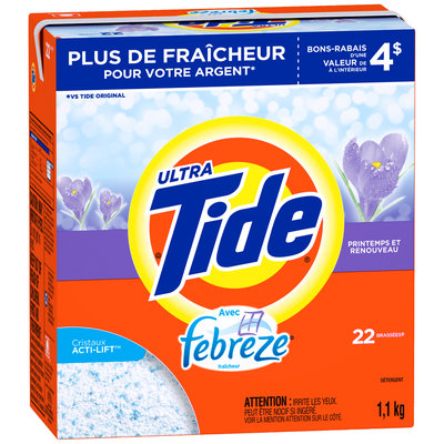 Tide Ultra Plus Febreze Freshness Spring and Renewal Scent Powder Laundry Detergent 1.1kg Box