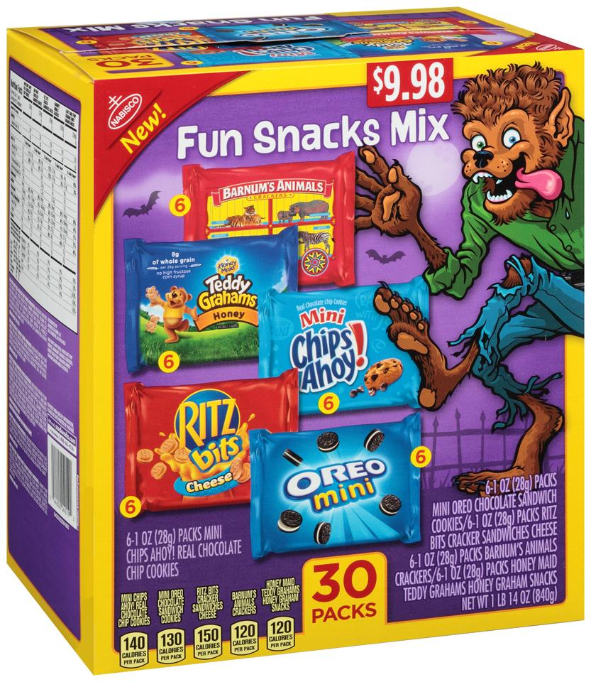Nabisco Halloween Fun Snacks Mix Variety Pack 30-1 oz. Packs