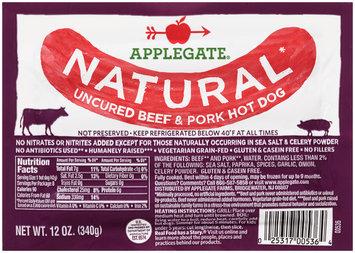Applegate® Natural Uncured Beef & Pork Hot Dog 12 oz. Vac Bag