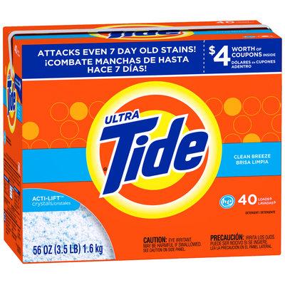 Tide Ultra Clean Breeze Scent HE Powder Laundry Detergent 56 oz. Box