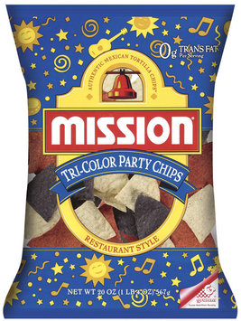 Mission Restaurant Style Tri-Color Party Chips Tortilla Chips 20 Oz Bag