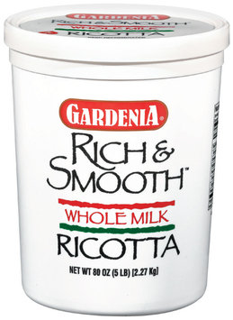 Gardenia Ricotta Rich & Smooth Whole Milk Cheese 5 Lb Plastic Tub