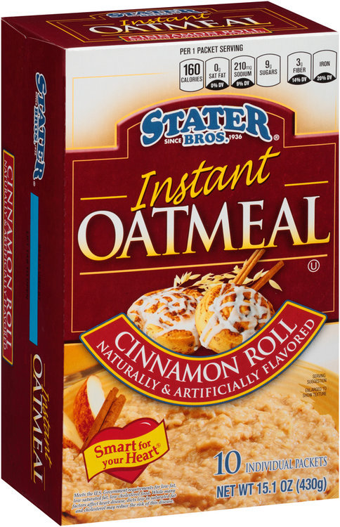 Stater Bros.® Cinnamon Roll Instant Oatmeal 10 ct Box