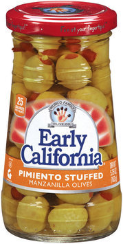 EARLY CALIFORNIA Pimiento Stuffed Manzanilla Olives 5.75 OZ JAR