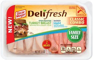 Oscar Mayer Deli Fresh Classic Combo Oven Roasted Turkey Breast/Smoked Ham Cold Cuts 15 oz. Tub