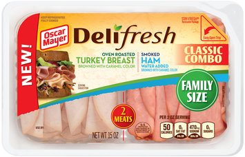 Oscar Mayer Deli Fresh Classic Combo Oven Roasted Turkey Breast/Smoked Ham Cold Cuts 15 oz. Tub