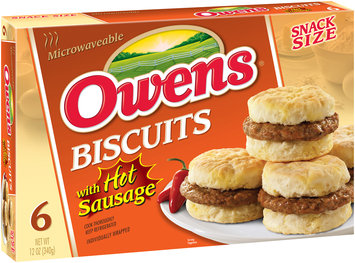 Owens® Snack Size Biscuits with Hot Sausage 6 ct Box